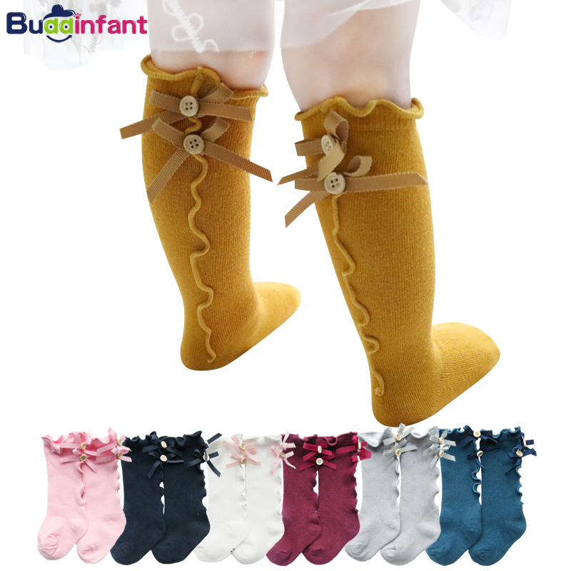 f0699a1129d8 cotton knee socks for girls infant baby long socks with bows ruffle toddler  girl knee high