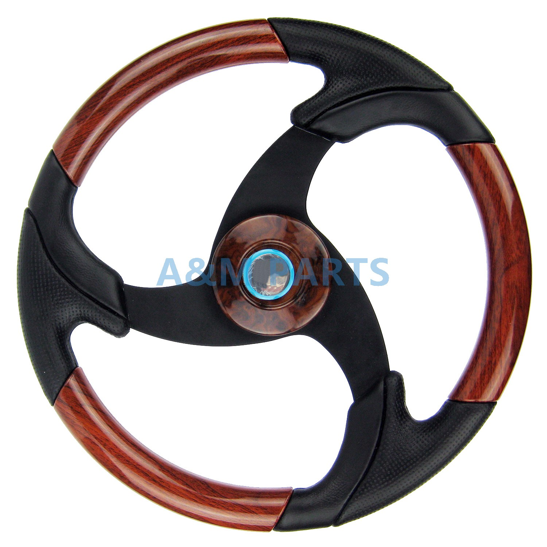 Marine Boat Steering Wheel Wood Leather Pontoon Boat Spot Steering Wheel Aluminum Spoke Black Grip 13.5