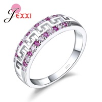 JEXXI Charm Gorgeous Rose Red Pink Color Austrian Crystal Hollow Wide Women Anel Simple Style 925