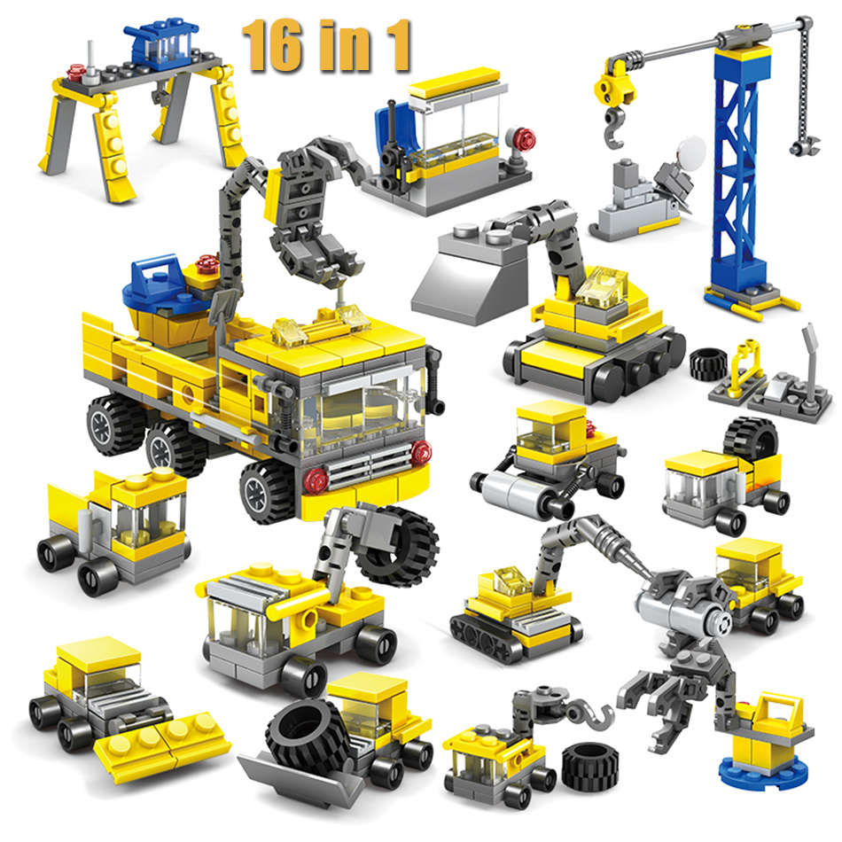 KAZI 16 in 1 City Construction Excavator Forklift Building Blocks Compatible legoed Brinquedos educational toys for children kazi 608pcs pirates armada flagship building blocks brinquedos caribbean warship sets the black pearl compatible with bricks