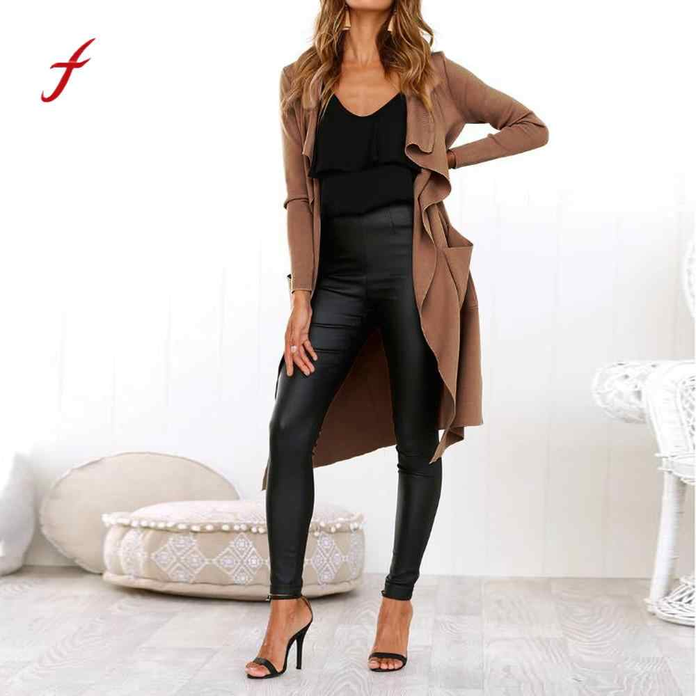 Feitong leather jacket Women Long Sleeve Leather Open Front Short Cardigan Suit plus size leather jacket Solid Long Coat jaqueta