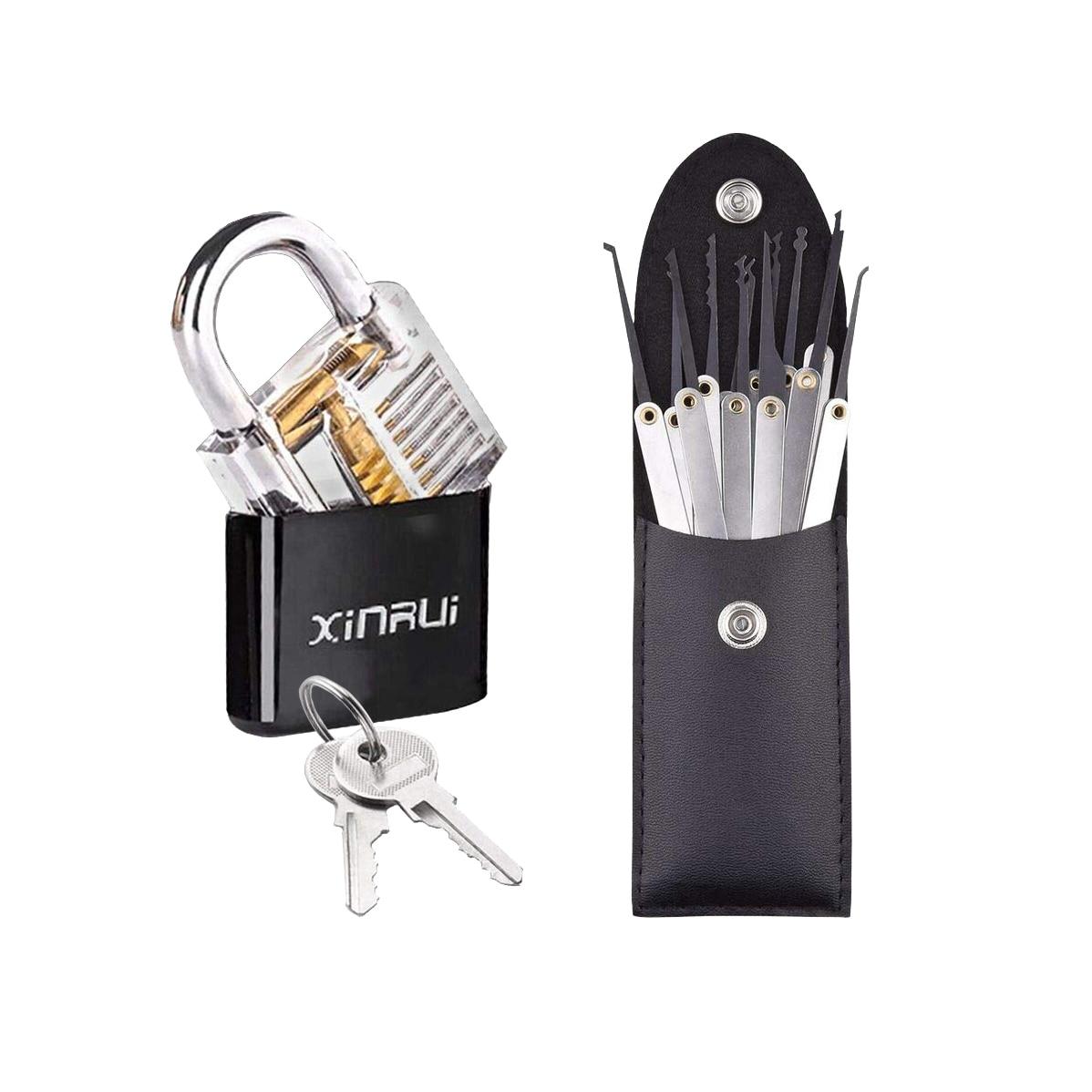 Outils de serrurier pratique Kit de verrouillage Transparent cadenas serrure avec clé cassée Kit de retrait crochet clé outil extracteur ensemble # D
