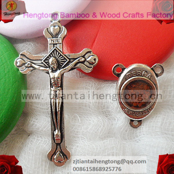 Free Shipping Rosary Parts, Rosary Center, Rosary Cross,Jerusalem Cross With Madonna Medallion,Containing Terra Soil