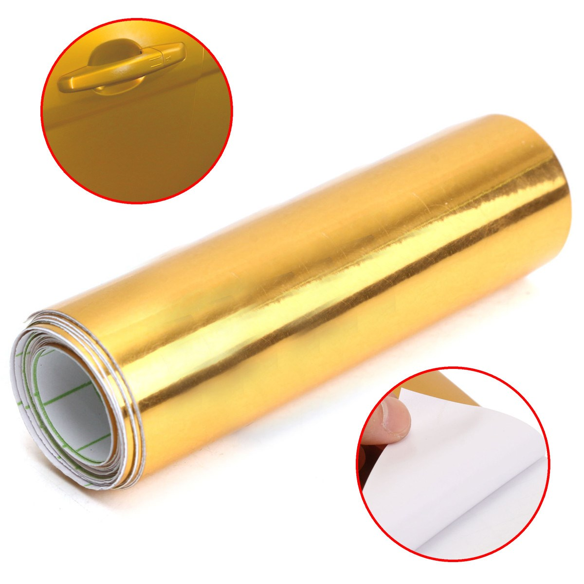 Image 2 - Gold Golden Chrome Mirror Vinyl Wrap Film Car Sticker Decal Bubble Free Air Release DIY Car Styling 10*150cm-in Car Stickers from Automobiles & Motorcycles