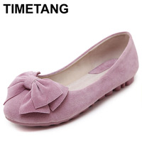 TIMETANG Soft Real Leather Flat Shoes Women Slip On Casual Loafer Shoes Ladies Designer Rubber Sole