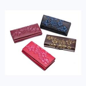 Image 5 - Miyahouse billeteras de piel auténtica para mujer, carteras en relieve florales, carteras largas titular de la tarjeta femenina, billetera de lujo con broche de cuero, monedero de mano