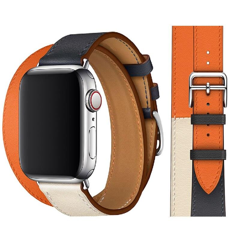 For Apple Watch Series 4 Strap Genuine Leather Double Tour Watch Band For Apple Series 1 2 3 iWatch Watch Bracelet 40mm 44mm цены онлайн