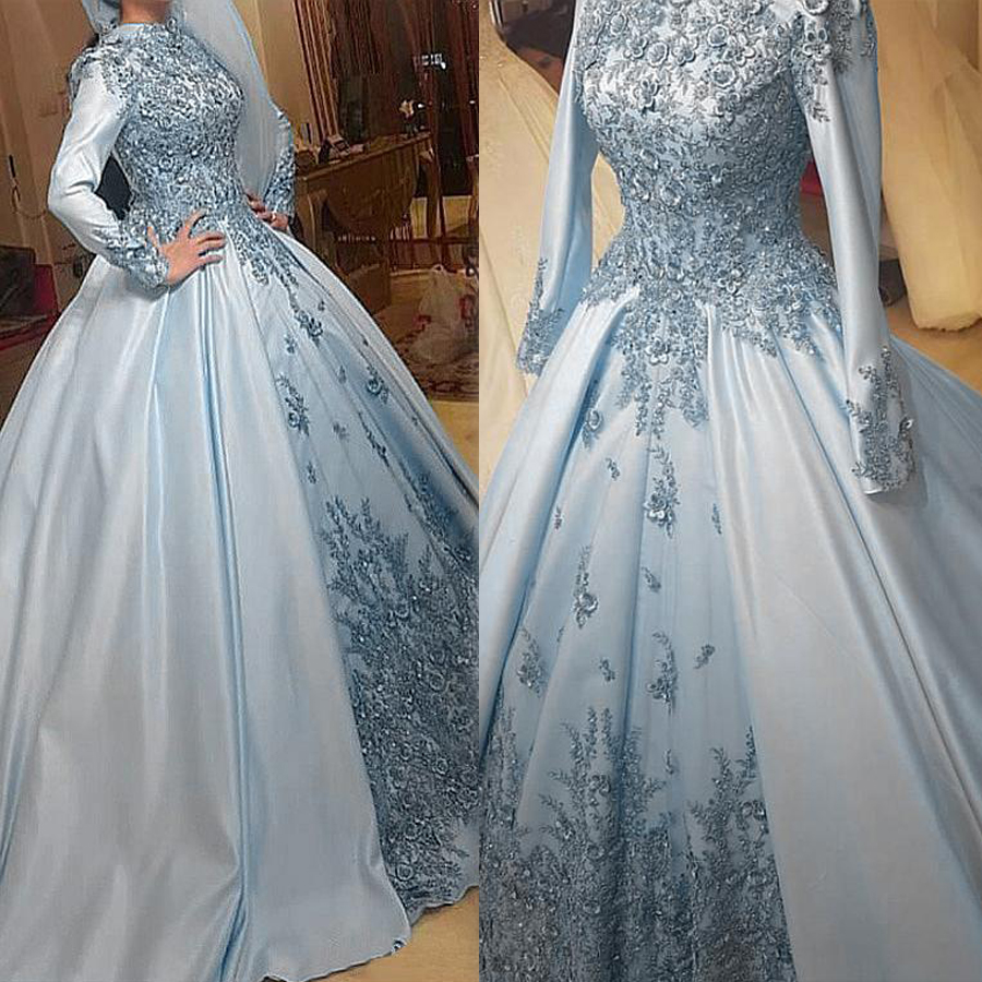 Vintage Satin High Collar Blue Satin Ball Gown Muslim Wedding Dress With Beaded Lace Appliques & 3D Flowers Bridal Gown