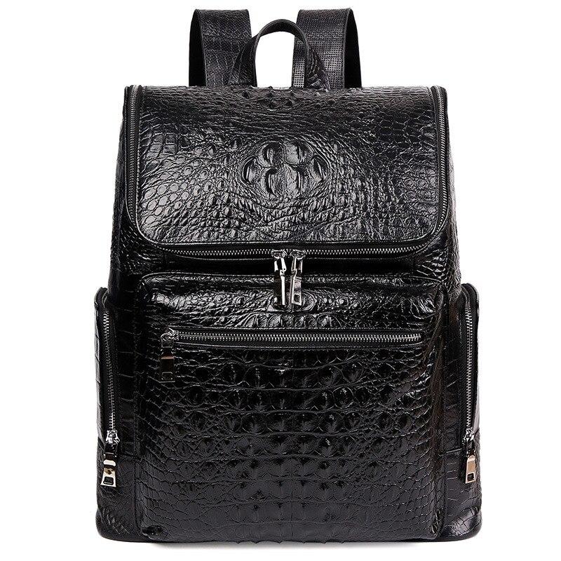 McParko luxe en cuir véritable sac à dos hommes vache sac à dos en cuir pour ordinateur portable motif Crocodile Design élégant Style sac à dos pour hommes - 2