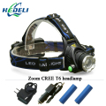 Portable zoom XM-L2 headlamp CREE XML T6 Rechargeable LED Headlights light Head Lamp Flashlight Lantern