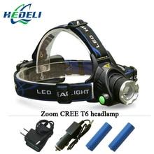 Portable zoom XM-L2 headlamp CREE XML T6 Rechargeable LED Headlights light Head Lamp Flashlight Lantern