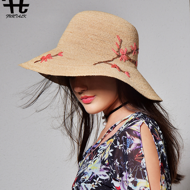 9d128cb5fc1 FURTALK imported raffia summer hat for women straw hat for beach sun hat  travel bucket hat panama