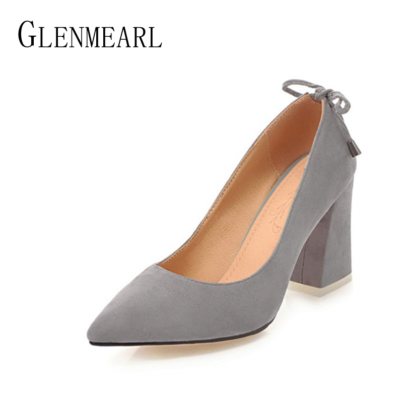 Suede Women Heels Shoes Pumps Fashion Spring Thick High Heels Single Brand Ladies Wedding Pumps Shoes Plus Size 34-46 luxury brand crystal patent leather sandals women high heels thick heel women shoes with heels wedding shoes ladies silver pumps