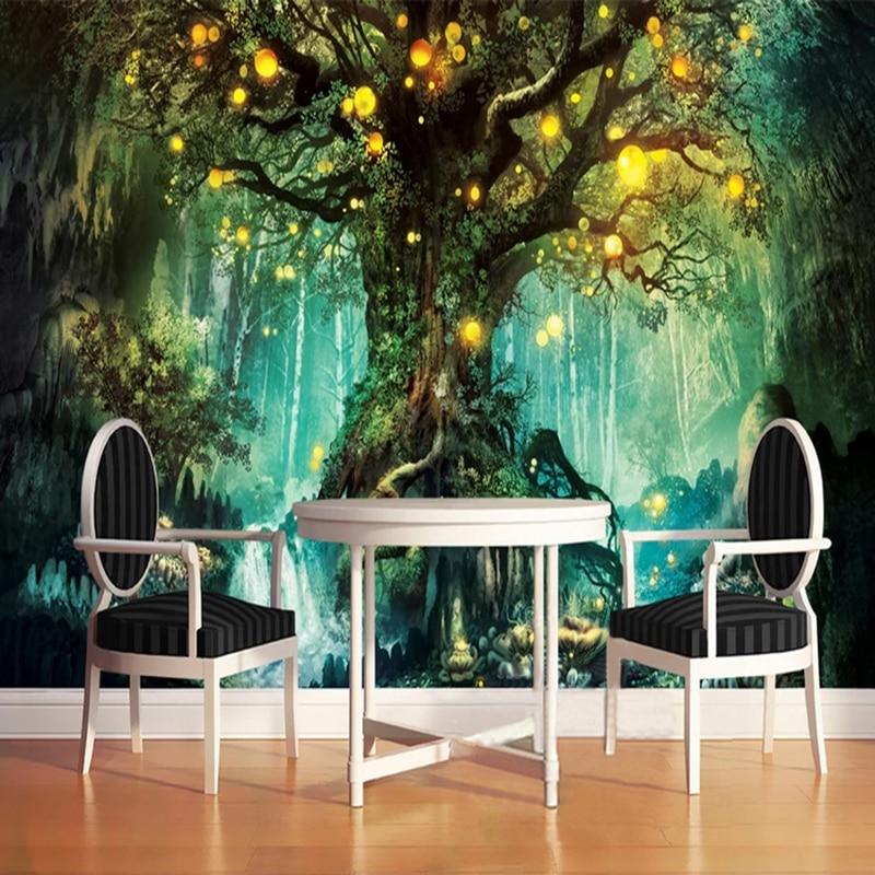 Photo Wallpaper 3D Romantic Fantasy Forest Tree Hand Painted Murals Living Room TV Sofa Kids Bedroom