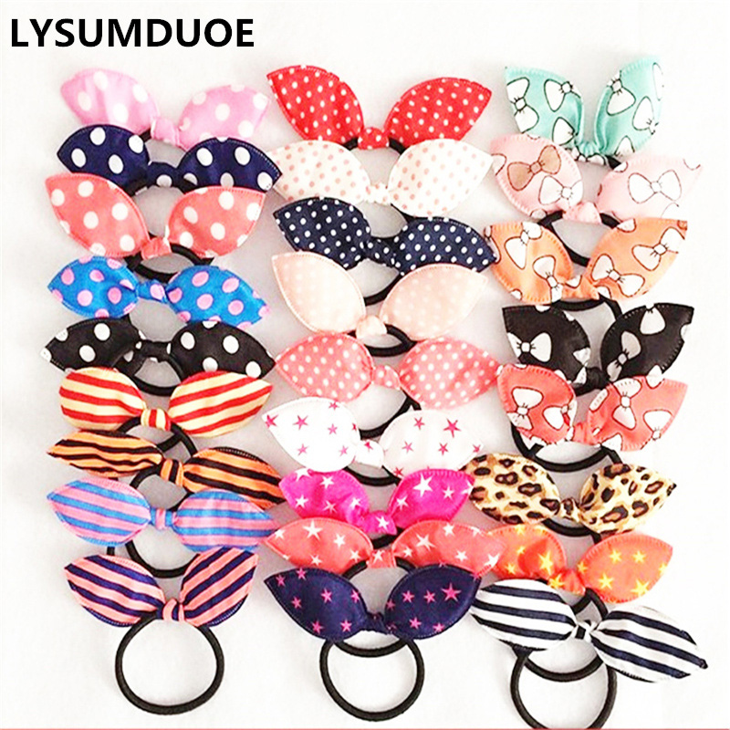 20Pcs/Lot Korean Fresh Elastic Hair Bands Girls Hair Accessories Bunny Rabbit Ears Scrunchy Cute Headdress Flower Bows Hair Hoop
