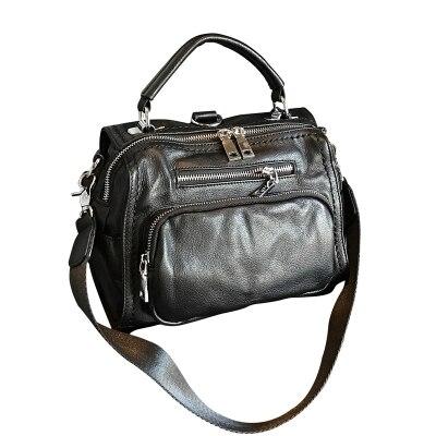 Femmes nouveauté vache en cuir noir sac bandoulière femme de causalité en cuir véritable une épaule sac de messager de cuir souple sac