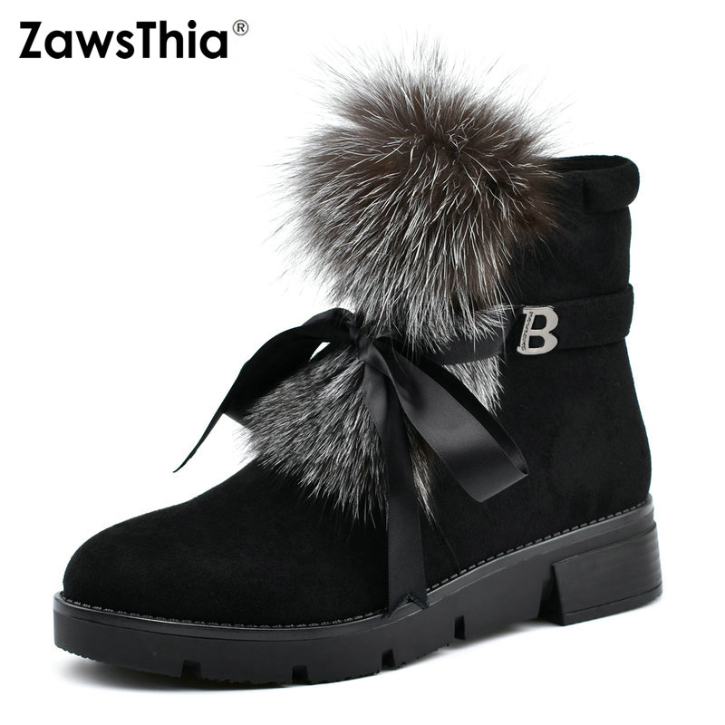 ZawsThia black snow boots real fur lace up flat low heel platform women ankle boots casual winter warm shoes women 39 s boots hm023 women s winter hats real genuine mink fur hat winter women s warm caps whole piece mink fur hats