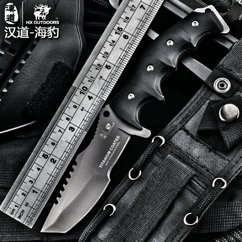 HX outdoor tactical multi knife surface plated titanium fixed black Knife pocket camping hand tools survival hunting knives hx outdoors survival knife d2 blade multi function camping saber tactical fixed knife hunting tools brand fixed knife hand tools