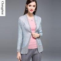 Changpleat עיצוב קיץ נשים 2017 מעיל הבסיסי של מיאקי קפלי שרוול ארוך נשים Silm תפרים תחרה בתוספת גודל C