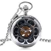 Steampunk Mechanical Pocket Watch Carving Skeleton Hand Wind Antique Flowers Women Men Cooper Fob Clock reloj de bolsillo Gifts