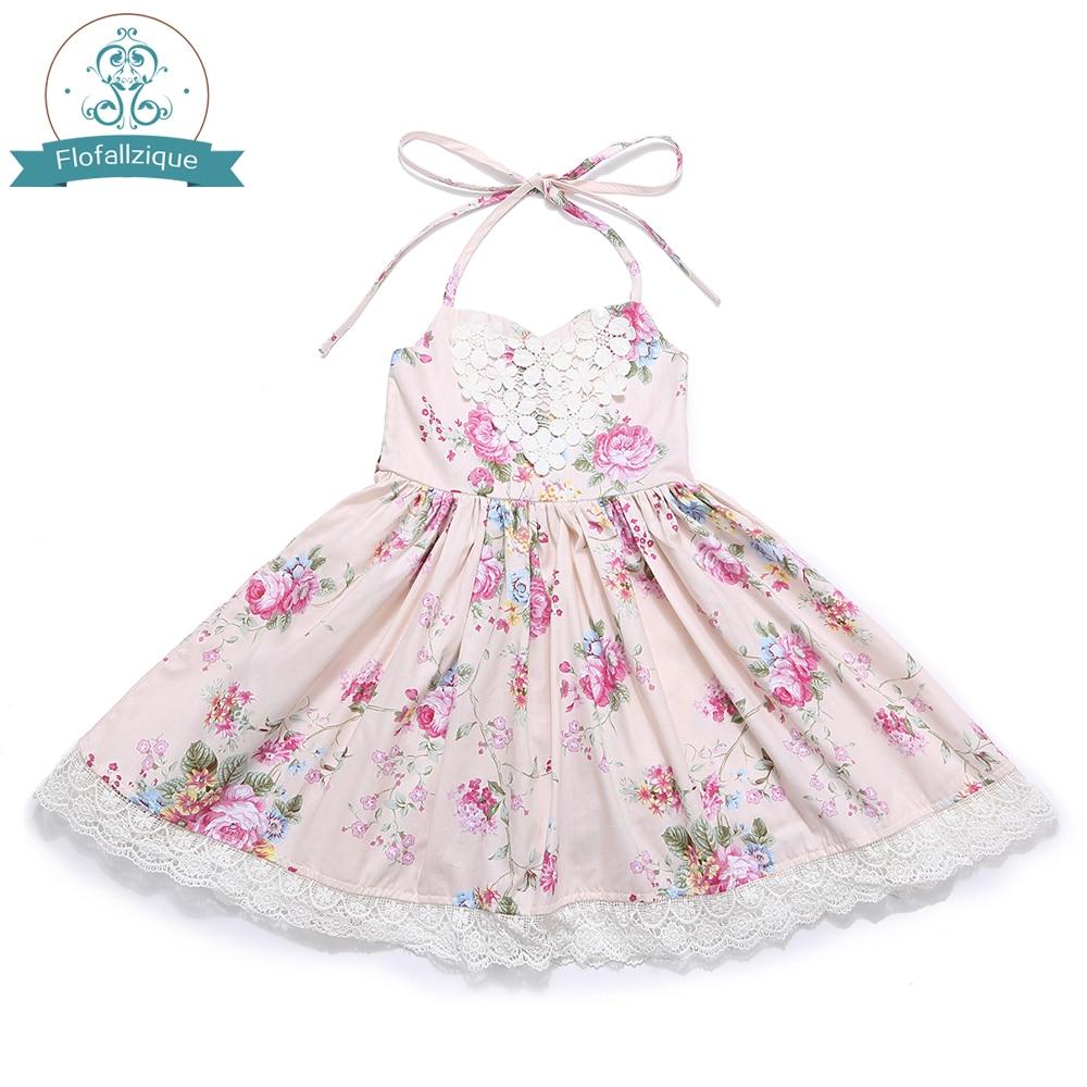 Baby Girl Dress 2018 Summer vintage Floral Print Design for Toddler Clothes Backless Wedding Party Princess Dresses vestidos random floral print backless spaghetti v neck irregular hem dresses