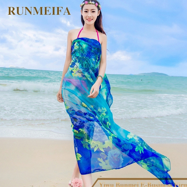 495d81d046 [RUNMEIFA] Womens Chiffon Wrap Pareo Sarong Dress Bikini Scarf Beach Bikini  Swimwear Cover Up Scarf