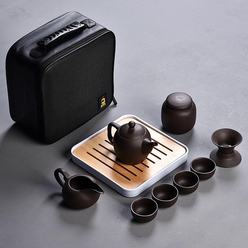 Шт. 10 шт. кунг-фу чайный набор, красивый и легкий чайник, китайский дорожный керамический портативный чайный набор, керамический поднос кофе...