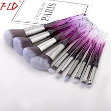 FLD 10Pcs Professional Makeup Brush Set Cosmetic Blush Powder Foundation Eye Shadow Lip Eyebrow Diamond Kit Brushes