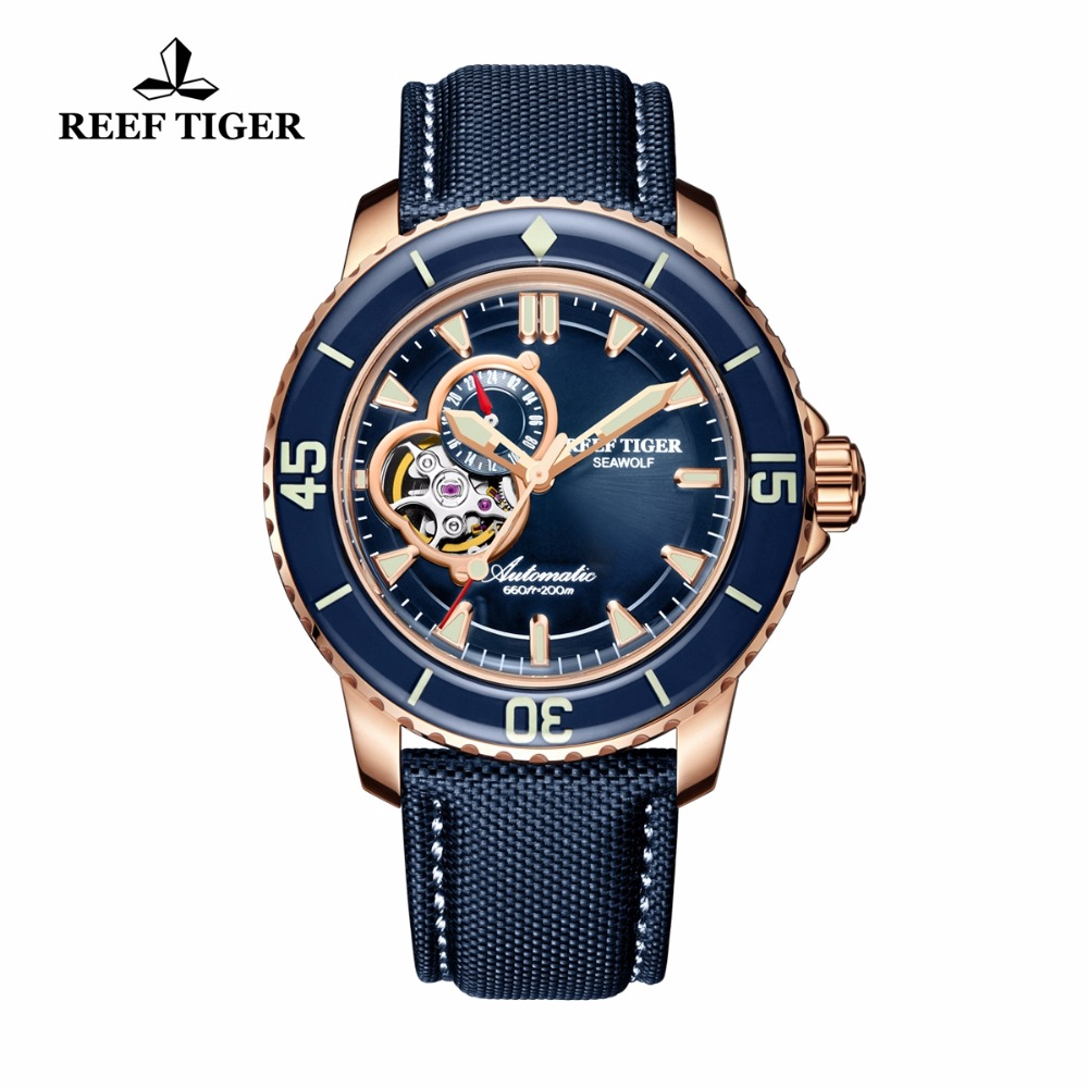 Récif Tigre/RT De Luxe montres de plongée pour les Hommes Automatique Rose Gold Tone Bleu Montres sangle en nylon RGA3039