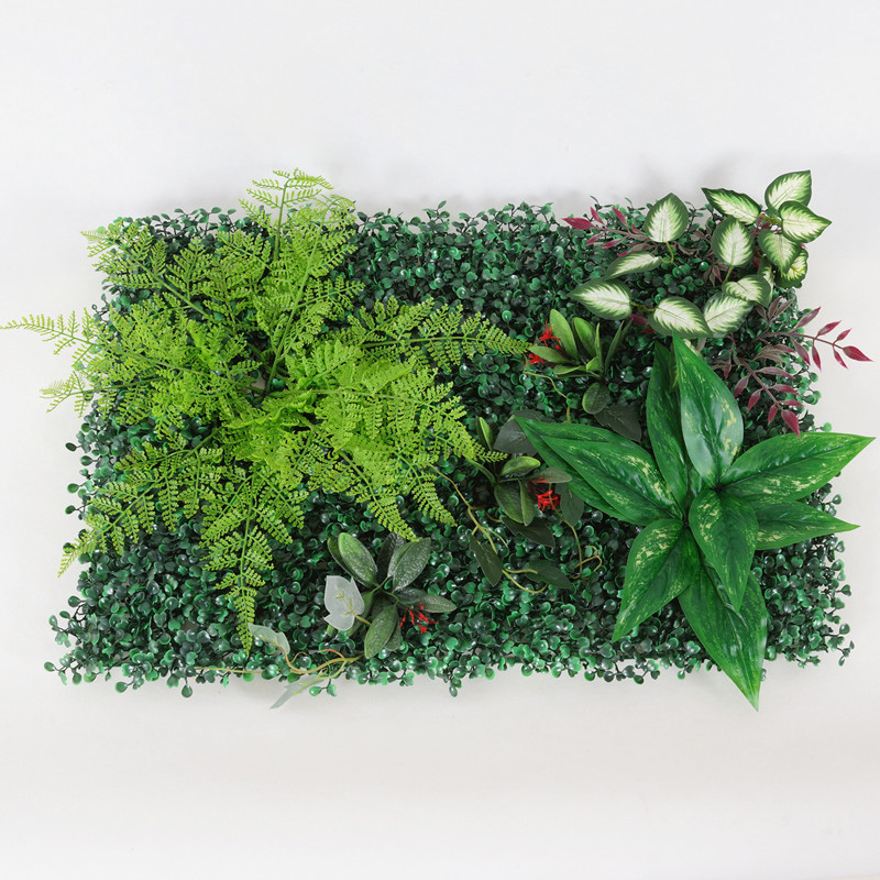 Купить с кэшбэком Artificial Plant Wall Artificial Green Lawn Tropical Leaves Clover Home Wedding Background Decorative Flower DIY 10pcs/lot