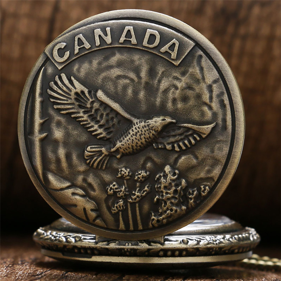 Vintage Bronze CANADA Bird Design Pocket Watch Quartz Necklace Pocket Clock Souvenir Gifts For Men Women Reloj De Bolsillo