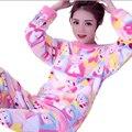 Estilo coreano Kawaii Bonito Pijamas de Inverno Para As Mulheres Conjunto De Pijama De Flanela Loungewear Pijamas Mulheres Sleepwear Pijama Femme Plus Size