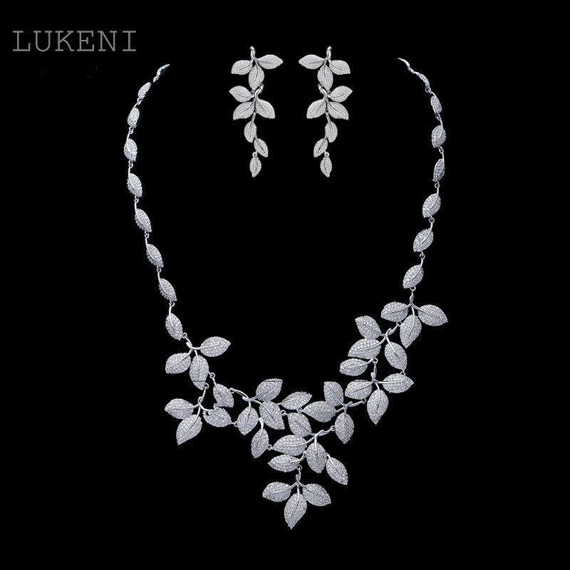 New Design Exquisite White CZ Marquise Cubic Zirconia Geometrical Tree Leaf Necklace & Stud Earring Bridal Jewelry faux turquoise engraved hope life tree leaf necklace