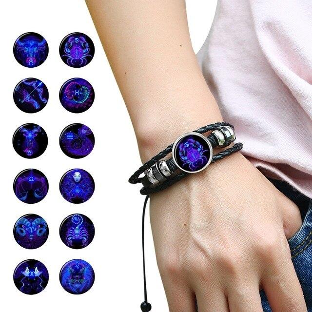 12 Constellation Zodiac Sign Black Braided Leather Bracelet Cancer Leo Virgo Libra Woven Glass Dome Jewelry Punk Men Bracelet 1