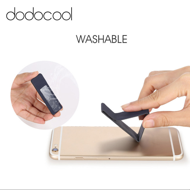 Dodocool Portable Universal 2 In 1pu Leather Adhesive Folding Phone Holder Desktop Stand Hand