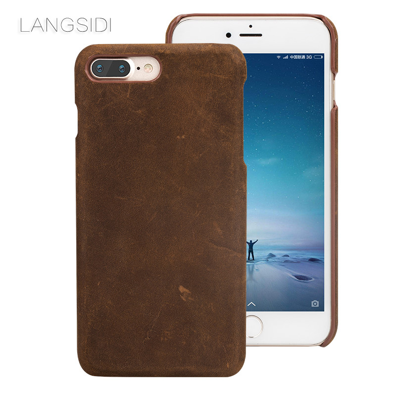 wangcangli brand phone case leather retro phone shell For iPhone 7 Plus full hand-made For iPhone SE 5 5S 6 6S 8 Pllus X cover