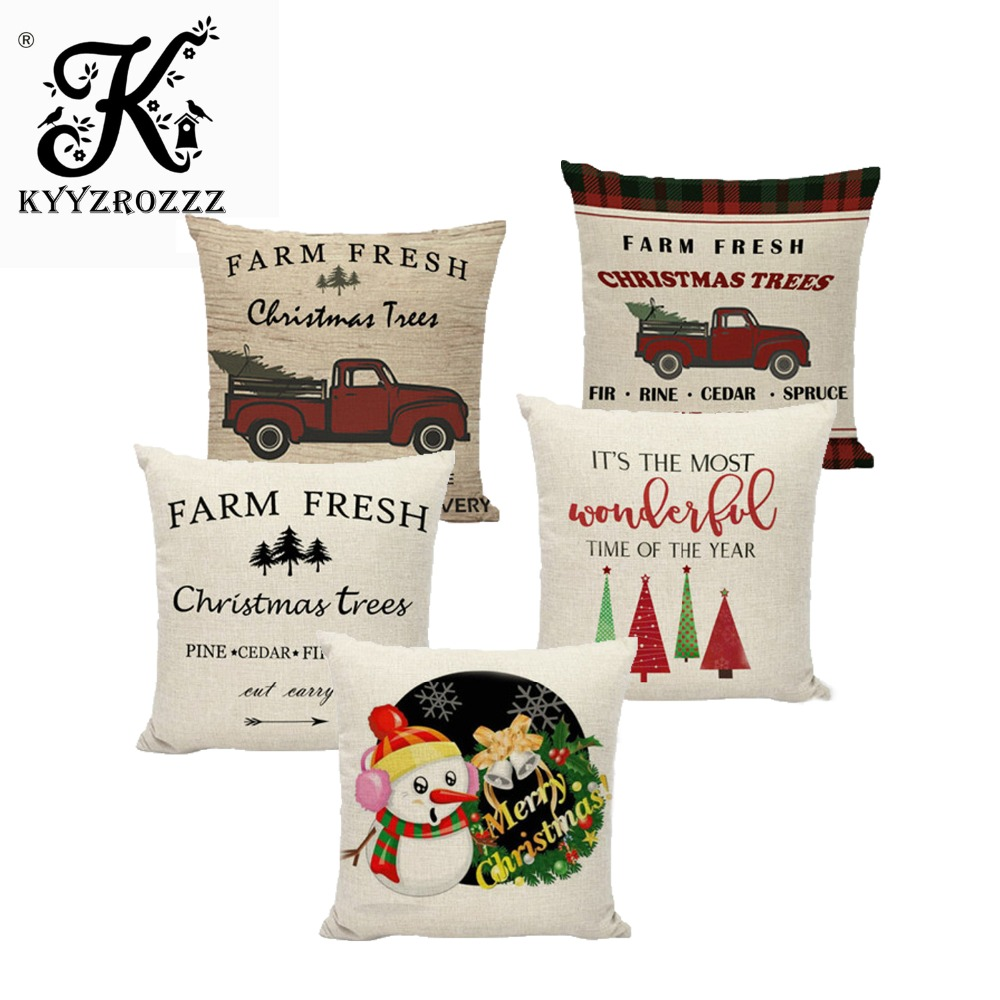 Farm Fresh Christmas Trees.Red Farm Fresh Christmas Trees Throw Pillow Covers Decorative Truck Happy Camper Red Utility Vehicle Cushion Cover Home Decor
