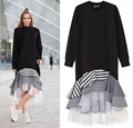 New Women Spring Black O-neck Long Shirt Dress Irregular Cut Strips Multi Layers Ruffles Patchwork Long Sleeve Casual Vestido