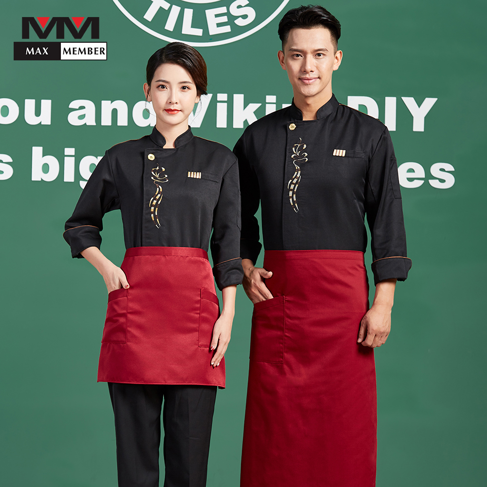 New Embroidery Flower Men Women Long Sleeve Restaurant Kitchen Chef Work Uniforms Cooking Jackets Food Service Overalls Outfit