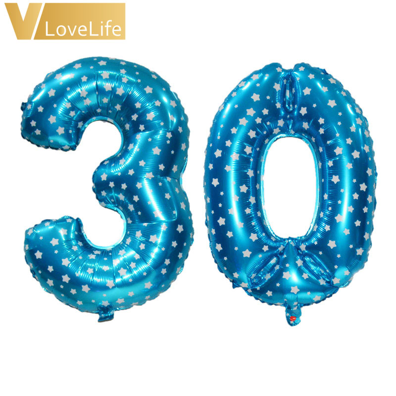 Foil Balloons 16th 18th 20th 21st 30th 40th 50th Birthday Balloon Number Happy Party Decor Blue Pink Rose Gold