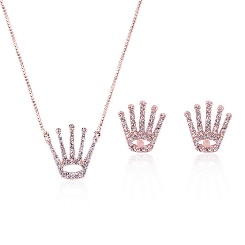 Geometry Princess Crown Necklace Accessories Lead-tin Alloy Necklace/Earrings Trendy Women Crystal