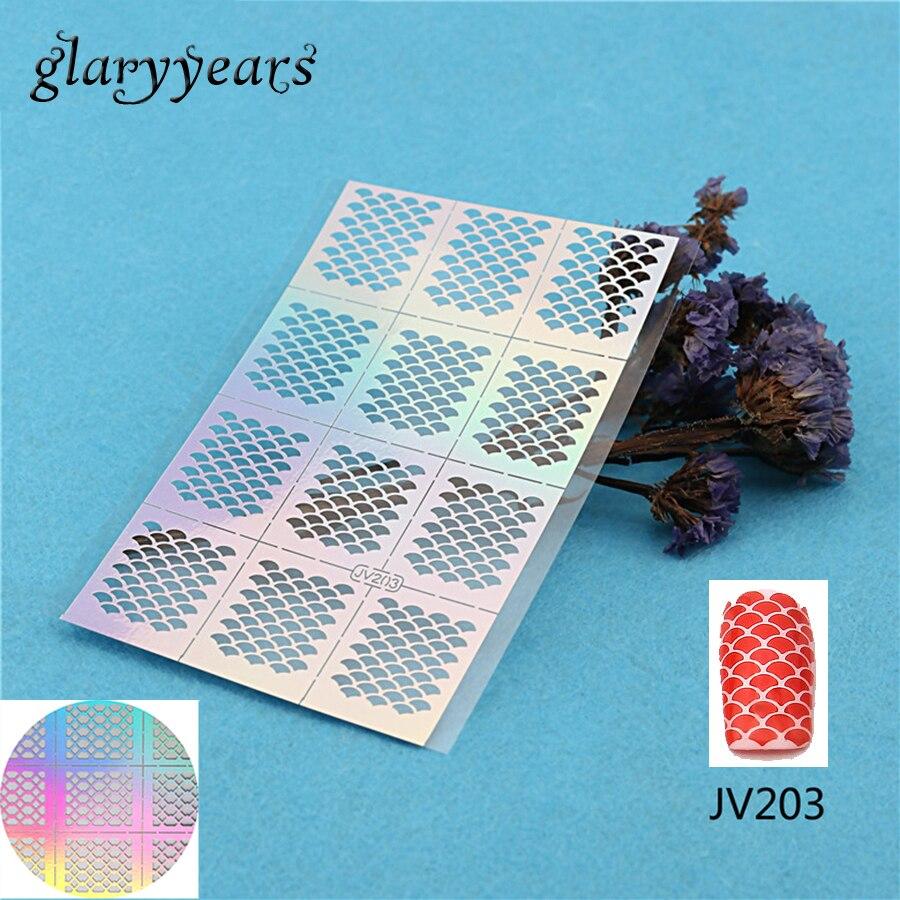 っ2018 1PC Nail Stencil Nail Sticker Ultra Thin Hollow DIY Pattern ...