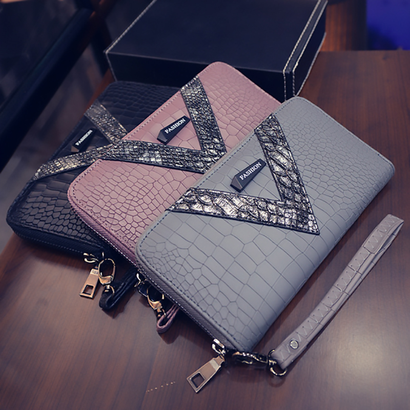 2019 New Pu Long Women Wallet Crocodile Pattern women's purse Best Phone Wallet Female Case Phone Pocket Portefeuille Femme