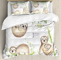 Sloth Duvet Cover Set Cute Babies in Tropical Nature Theme Exotic Palm Tree Leaves Nursery Aloha 4 Piece Bedding Set