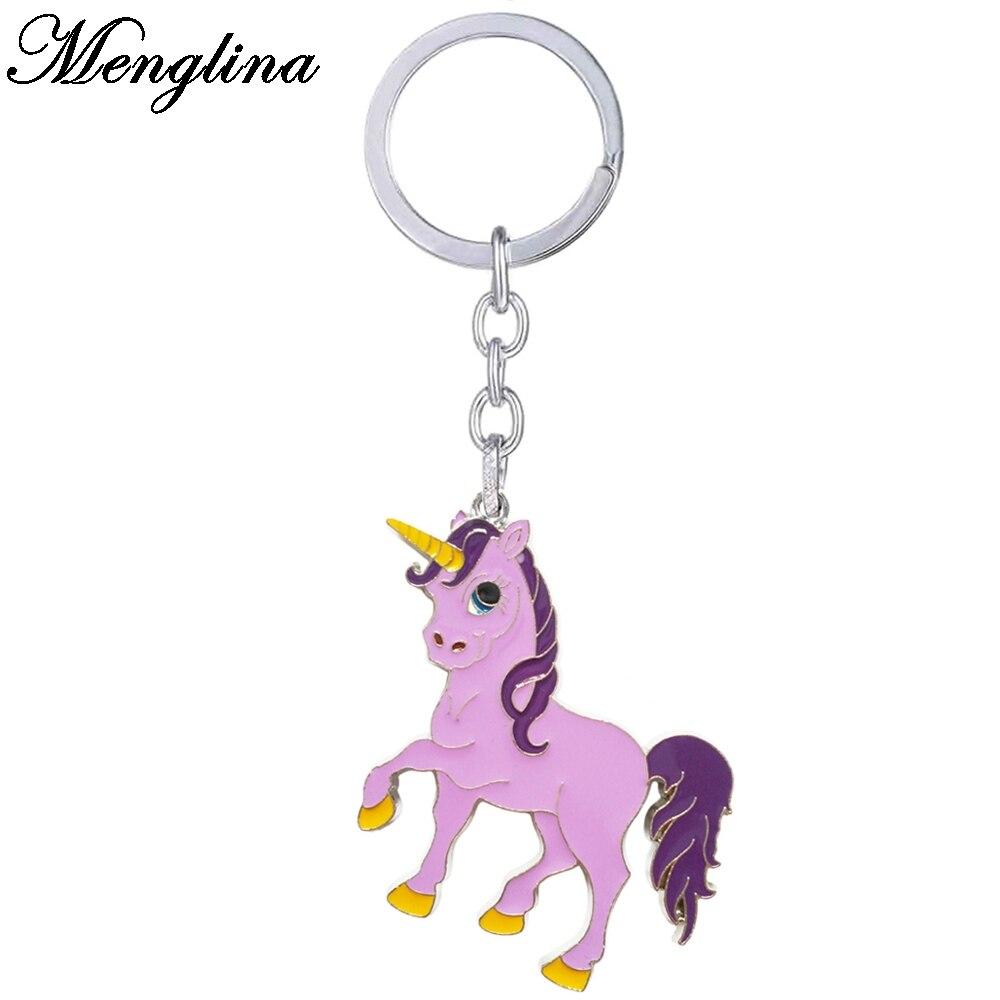 Menglina Fashion Purple Enamel Unicorn Keychain For Women Horse Key Ring Bag Charm Accessories Llaveros Animales 170814