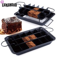 CAKEHOUD Stainless Steel Series Non stick Brownie Pan Cake Mold Built in Slicer For Bread, Brownies, Chocolate Or Cheese Cake
