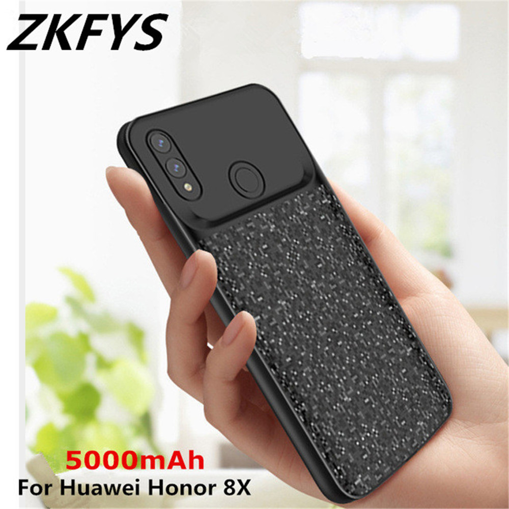 ZKFYS 5000mAh Ultra Thin Fast Charger Case For Huawei Honor 8X Portable Power Bank Case Back Clip Battery Charging Cover Case