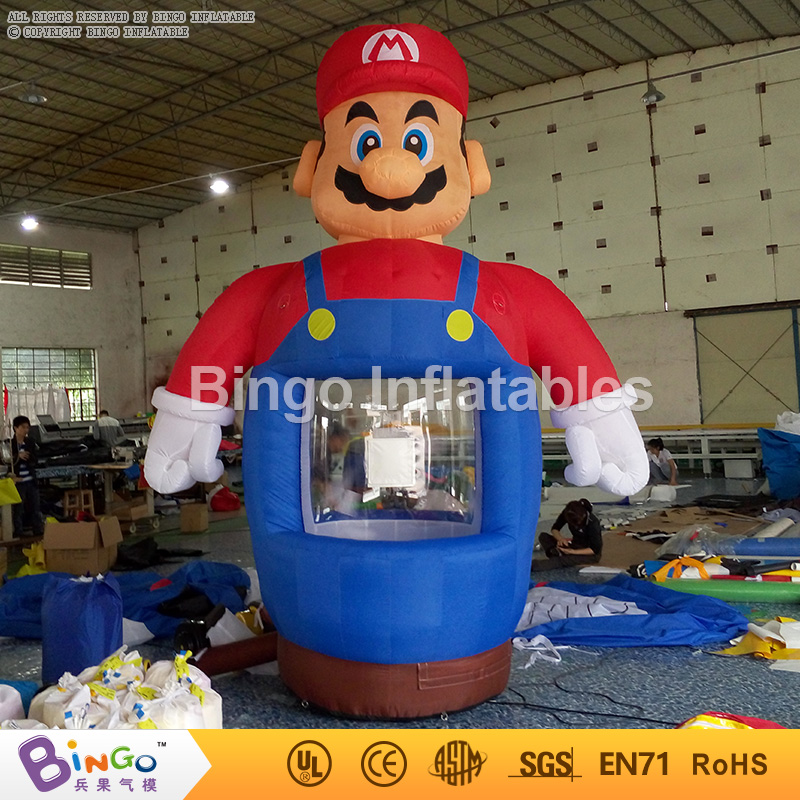 Mario cartoon Inflatable Money grab Machine 3.6m high Cash Cube Money Booth with Free Blower inflatable games toy BG-A0725 funny summer inflatable water games inflatable bounce water slide with stairs and blowers