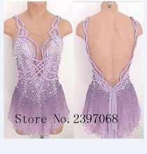 Purple Ice Skating Dress Women Competition Figure Dresses Custom Crystals Girls Clothes B25