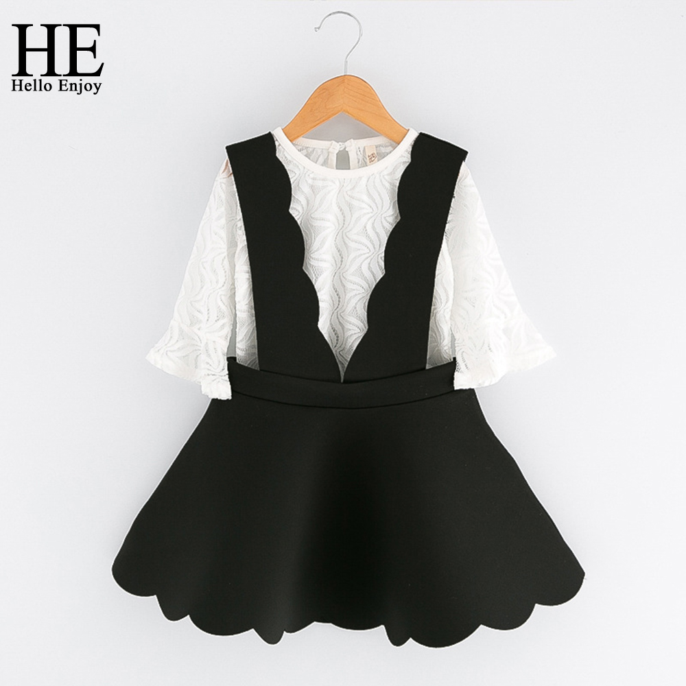 HE Hello Enjoy 2017 girls clothing sets summer kids clothes girls white mesh shirt + harnesses dress 2pcs toddler girl dresses